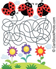Maze 25 with ladybugs and flowers - eps10 vector...