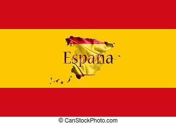 Spanish National Flag and Map With Country Name Written On...