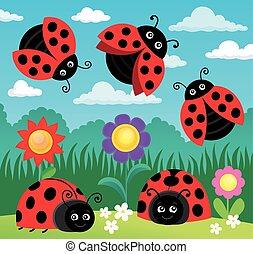 Stylized ladybugs theme illustration.
