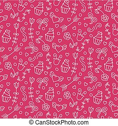 Sweet vector seamless pattern with hearts, cupcakes, flowers, bows. Cute endless background.