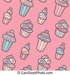 Sweet vector seamless pattern with cupcakes. Cute endless background in gentle colors. Cake isolated.