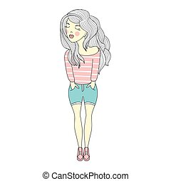 Vector illustration of a beautiful fashion young girl in striped shirt, jeans shorts. Stylish lady on white background.
