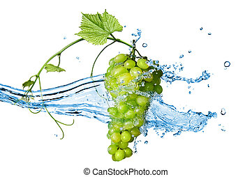 green grape with water with splash isolated on white