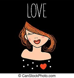 Vector illustration of a fashion beautiful redhead girl in love. Hand drawn card with enamored woman and text love.