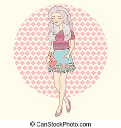 Fashion beautiful walking girl in vector.