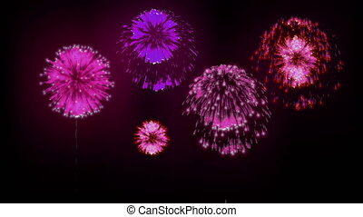 4K firework background. colorful fireckrackers at holiday night. different animation. version 7.