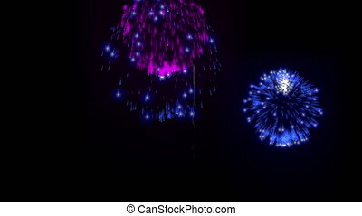 4K firework background. colorful fireckrackers at holiday night. different animation. version 13.