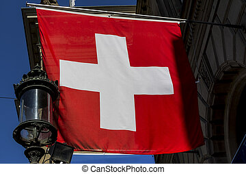 switzerland, zurich, swiss flag - switzerland zurich. the...