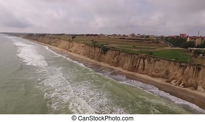 The Black Sea waves beating on the shore shooting from the...