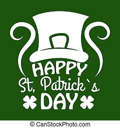 Saint Patrick day symbol of Leprechaun hat and four-leaf clover leaf or lucky shamrock.