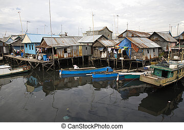 Slum area near Paotere harbor, the old port of Makassar