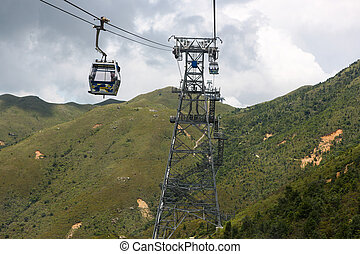 Cable Cars, Lantau Island - Cable car system on Lantau...