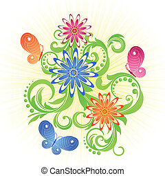 Spring background - Spring green background with flowers and...