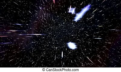 Space warp speed hyperspace travel through starfield nebula...