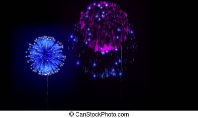 4K firework background. colorful fireckrackers at holiday night. different animation. version 17.
