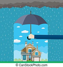Home insurance concept. Hands hold umbrella over house and...