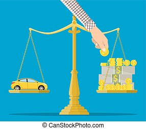 Scales with car and money. Buying a car. Vector illustration...
