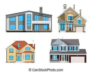 Suburban family house set. countrysdie wooden and brick...