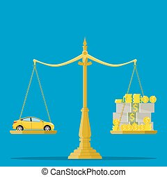 Scales with car and money, flat style. - Scales with car and...
