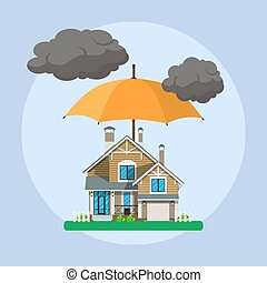 Home insurance concept. umbrella over house. Insurance...