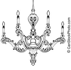 Vintage Baroque Elegant chandelier. Vector Luxury Royal Rich...