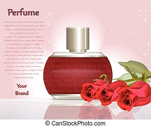 Perfume cosmetics and perfume ads template. Silver bottle sparkling background. Realistic red roses decor. 3d Vector illustration