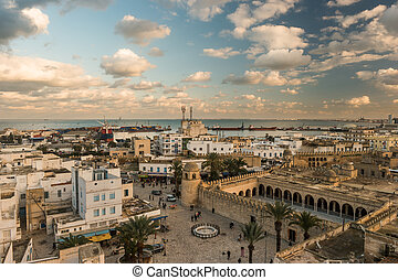 Beautiful sunset in Sousse, Tunisia. Cityscape with the view...