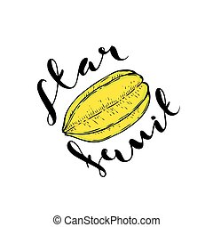 The fruit of carambola on a white background with the words...