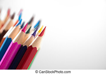 Color pencils with depth and field isolated on white...