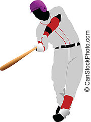 Baseball player. Colored Vector - Baseball player. Colored...