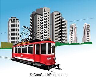 Dormitory and rarity tram. Vector