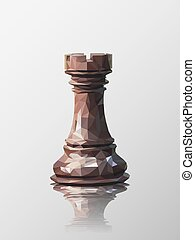 rook low poly - Low poly 3d design of rook chess piece....