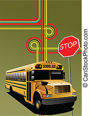 Yellow school bus and city junction. Vector illustration
