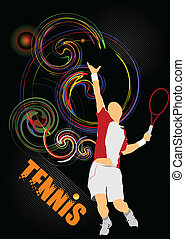 Tennis player. Colored Vector