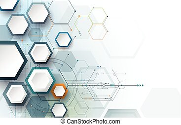 Vector illustration Abstract futuristic, hexagon shape on light gray color background