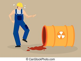Radioactive Spill Industrial Workplace Accident Vector...