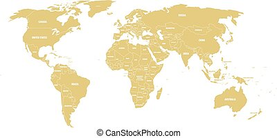 Golden political World map with country borders and white state name labels. Hand drawn simplified vector illustration
