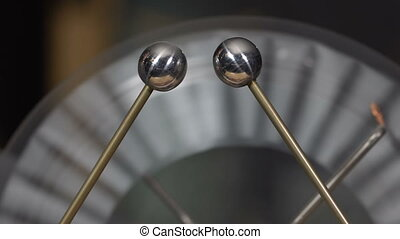 Electrostatic machine produces a spark - Electrostatic...