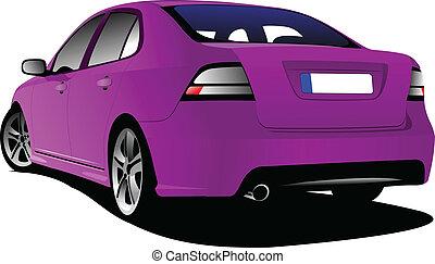 Purple colored car sedan on the road