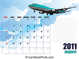 Calendar 2010 with plane image Months Vector illustration