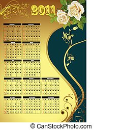2011 calendar with flower image. V