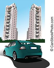 Dormitory and green car sedan. Vector illustration