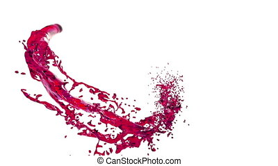 transparent red paint forming a circle on clear white background. alpha matte, full hd, CG, 3d render 6