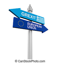 Grexit Direction Sign isolated on white background. 3D...