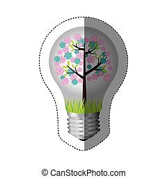 color sticker silhouette with bulb light and floral tree...
