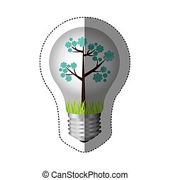 color sticker silhouette with bulb light and blue floral...