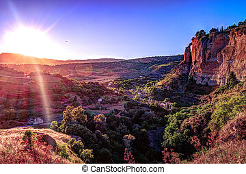 Ronda, Spain, a landscape with the Tajo Gorge.