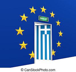 Grexit Door Illustration. 3D render