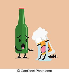 Beer bottle soothes sad glass of beer character. Funny...