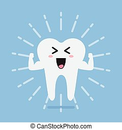 Happy healthy and strong tooth. Concept of children's...